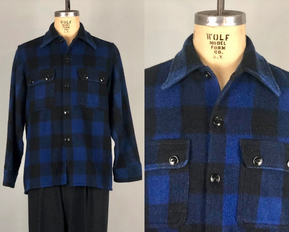 1950s Heavyweight Shirt Jacket | Vintage 50s Great Royal Blue & Black Plaid Wool Square Cut Shirtjac W/ Cat Eye Buttons | Large