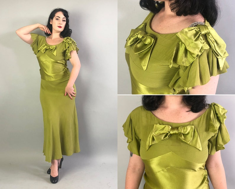 0805cb7c31be4 1930s Deco Chartreuse Gown Vintage 30s Bias Cut Green Rayon   Etsy