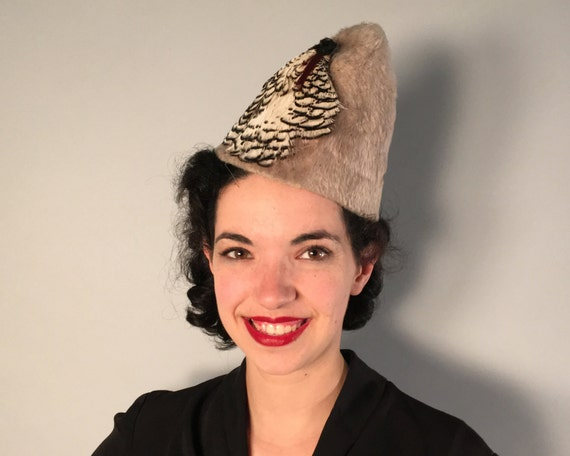 Vintage 1930s Hat | 30s Gray Grey Pointy Wool Hat with Black & White Feather Fan