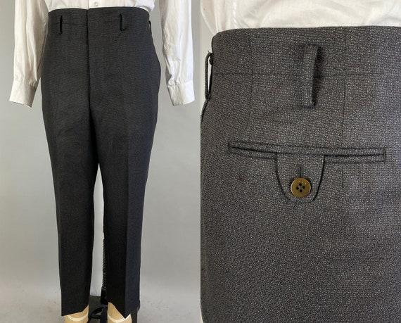 1930s Tailored Tyler Trousers | Vintage 30s Charcoal Grey & Subtle Orange Flecks Wool Slacks w/Hollywood Waist | 38x26.5+2.5 Extra Large XL