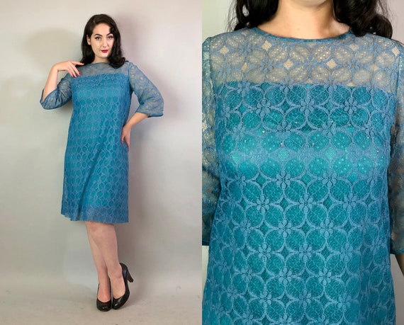 1960s Cerulean Blue Dress| Vintage 60s Daisy Floral Lace Overlay Shift Dress with Rhinestones Fully-Lined Midcentury Party Dress | Large