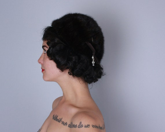 Vintage 1950s 1960s Hat | 50s 60s Dark Brown Fur Hat with Satin and Rhinestone Pin