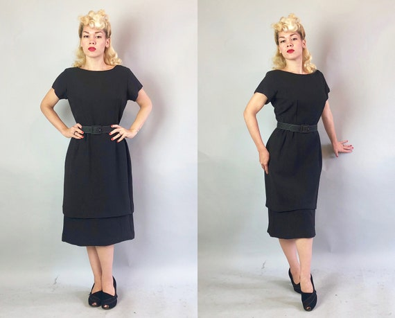 1950s Black Day-to-Night Cocktail Dress | Vintage 50s Dress w/Tiered Hem & White Topstitched Self Belt by 'George Small' LBD | Medium Large