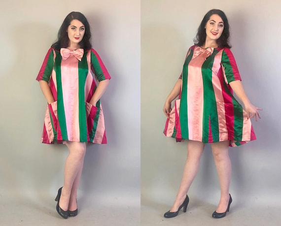 1960s 'Maxwell Shieff' Designer Dress | Vintage 60s Watermelon Pink & Green Striped Silk Satin Party Shift Dress w/ Bow and Pockets! | Large