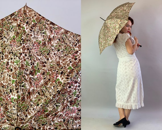 1950s Singing in the Rain or Shine Umbrella | 50s Mid Century Brown Green Pink and Black Floral Flower Print Parasol