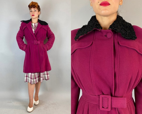 1940s Stunning Starlet Coat | Vintage 40s Fuchsia Wool Belted Wool Overcoat with Black Curly Lamb Collar Pleats and Pockets | Small Medium