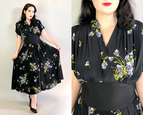 1940s Novelty Print Dress | Vintage 40s Black Rayon Day Dress with Blue, Purple, and Yellow Floral Print Day Dress w/ Cap Sleeves | Medium