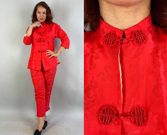1950s Lazy Day Lounge Set | Vintage 50s Coral Red Silk Cream Lining Asian Chinese Frog Toggle Top and Pants Pajamas PJs | Extra Small XS