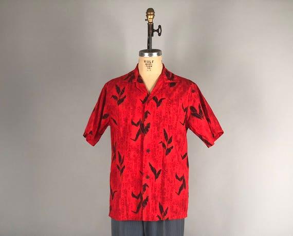 "Vintage 1940s 1950s Mens Shirt | 40s 50s Bright Red, Black, and Gold Hawaiian Tiki Shirt from Hawaii by ""Diamond Head Sportswear"" | Large"