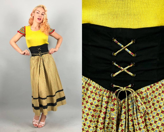 1940s Corset-Waist Skirt | Vintage 40s Ultra High Waisted Butter Yellow and Tomato Red Medallion Print Skirt with Black Accents | Small