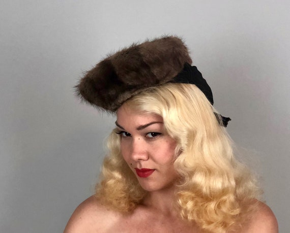 Vintage 1930s Hat | 30s 'Paris Maid'  Chocolate Brown Dixie Cup Tilt Hat with Chocolate Brown and Beige Beaver Fur and Grosgrain Ribbon Trim