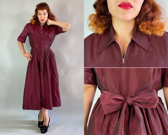 1940s Dressed to Impress Frock | Vintage 40s Maroon and Crimson Red Dotted Rayon Taffeta Dress Zip Front Full Skirt & Pockets | Medium Large