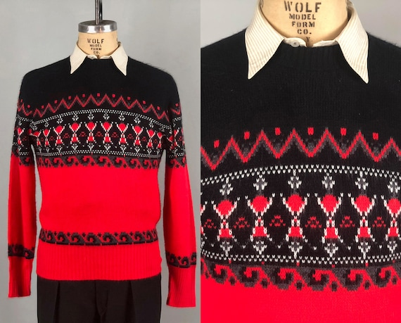 1950s 1960s Mens Abstract Waves Sweater | Vintage 50s 60s Red Black & White Orlon Knit Jumper Pullover with Border Designs | Large