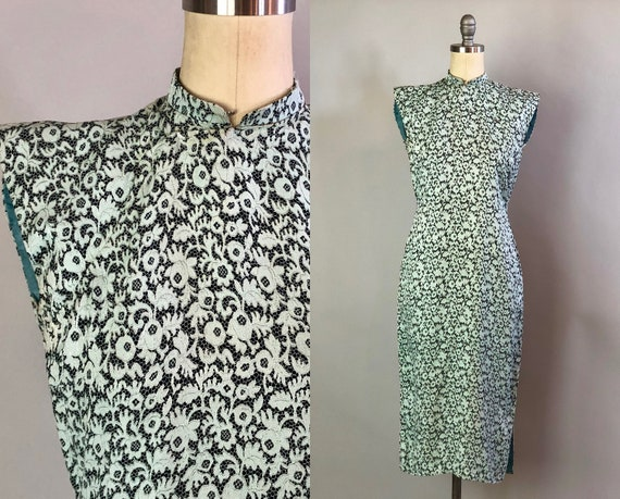 1930s Cheongsam Dress | Vintage 30s Mint Green and Black Rayon Qi Pao w/ Floral Lace Pattern and Cap Sleeves | Extra Small XS