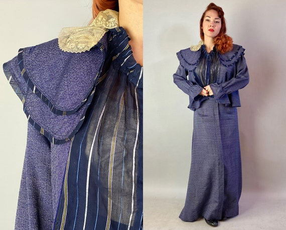 1800s Distinguished Della Victorian Dress Set | Vintage Antique Blue and Cream Wool Silk & Lace Three-Piece Skirt Blouse and Capelet | Large
