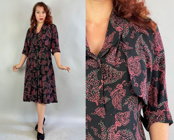 1940s Put Together Patty Dress Set | Vintage 40s Black Silk with Pink and White Leaf Print Pleated Frock with Jacket | Large Extra Large XL