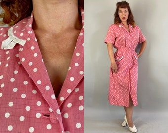1940s Patty Polka Dots Dress | Vintage 40s Pink and White Polkadot Cotton Button Up Frock with Pockets and Belt | Large Extra Large XL