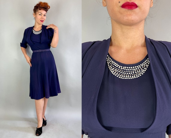 """1940s Moonlit Night Dress   Vintage 40s Midnight Blue A-Line Cocktail Frock with Rhinestones and Studs by """"Classic lady""""   Large"""