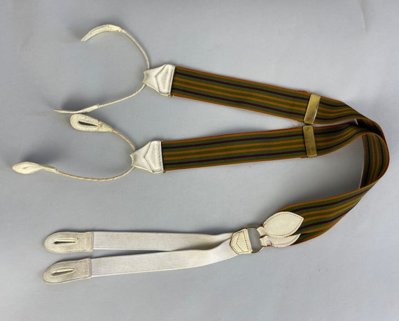 1920s Splendid Striped Suspenders   Vintage 20s Rust, Moss & Aubergine Woven Cotton White Suede Leather Button Tab Braces and Brass Hardware