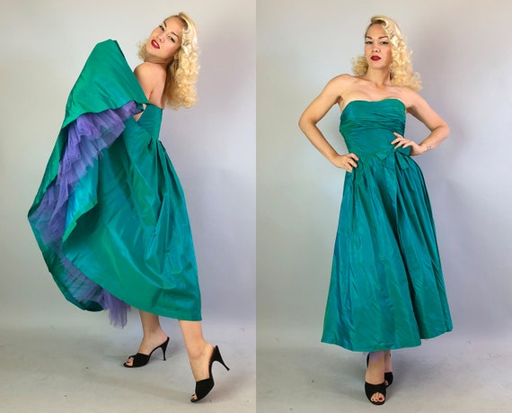 "Vintage 1950s Dress | 50s Iridescent Teal Green Silk Taffeta ""I.Magnin"" Strapless Party Gown with Built in Purple Tulle Crinoline 