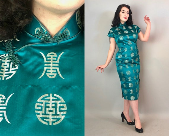 1950s Elegant Teal Cheongsam | Vintage 50s Blue Green and Silver Silk Qipao Traditional Asian Evening Dress w/Quilled Frog Closures | Medium