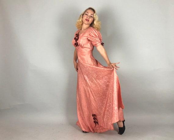1930s Moiré Silk Gown   Vintage 30s Salmon Pink T… - image 8