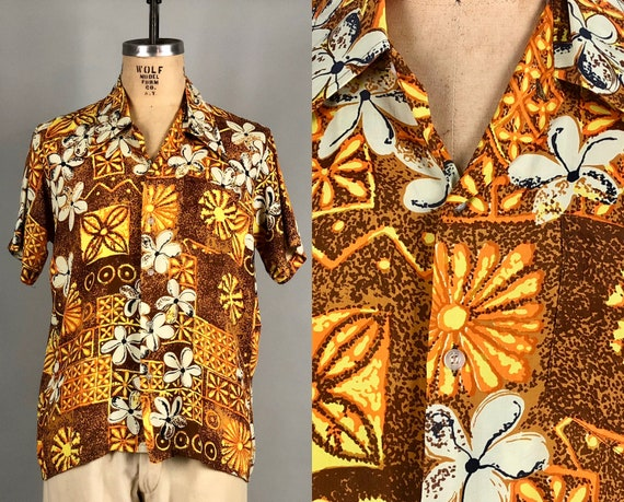 "1960s Mens Rayon Hawaiian Shirt | Vintage 60s ""Aloha"" Short Sleeve Tiki Button Up with Yellow Brown Orange and White Flower Print 