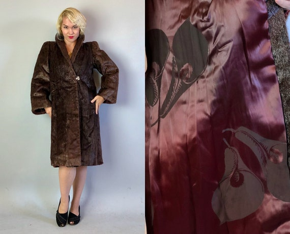 1920s Shorn Beaver Coat | Vintage 20s Dark Chocolate Brown Fur Coat with Bell Sleeves Art Deco Buttons and Silk Calla Lily Lining | Small