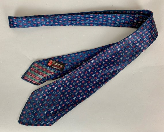 1930s Geometric Floral Necktie | Vintage Mens 30s Midnight Navy Blue Silk Brocade Tie with Red and Green Pattern by 'Gromans'