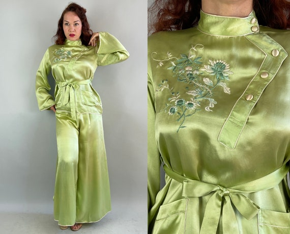 1940s Sensuous Souvenir Set | Vintage 40s Chartreuse Green Silk with White Trim and Floral Embroidery Lounge Top Pants & Belt | Medium Large