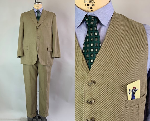 1960s Diagonal Striped Suit | Vintage 60s Olive Green Wool Three Piece Set with Blazer Jacket, Trousers, & Vest | Size 46 Extra Large XL