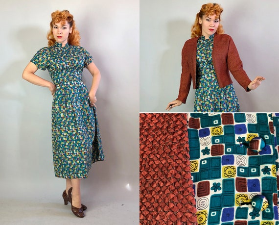 1950s Atomic Annie Two Piece Dress Set | Vintage 50s Cream Teal Yellow Burnt Sienna & Blue Print Silk Dress with Ribbon Knit Jacket | Small