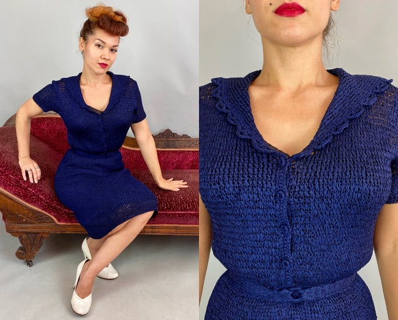 1940s Set for Success Frock | Vintage 40s Midnight