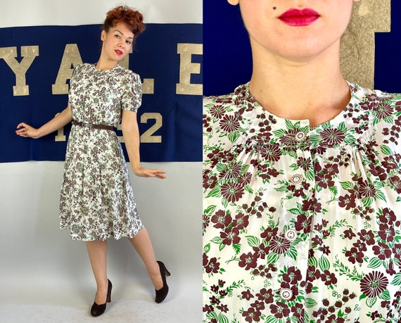 1930s Floral Frolic Frock | Vintage 30s White Brown and Green Semi Sheer Rayon Chiffon Shirtwaist Dress with Puff Sleeves | Medium Large