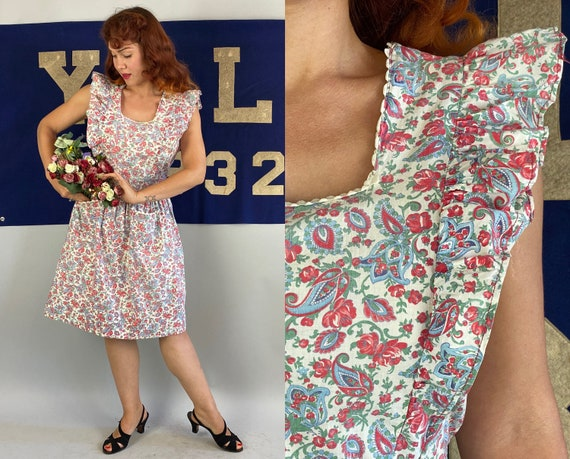 1940s Pin Up Pinafore Dress   Vintage 40s White Red Blue & Green Paisley Floral Cotton Ruffled Button Back Frock w/Waist Ties   Medium Large