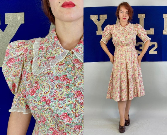 1930s Poised in Paisley Frock | Vintage 30s Cotton Floral Print Dress in White Pink Green Brown Yellow with Puff Sleeves & Ruffles | Large