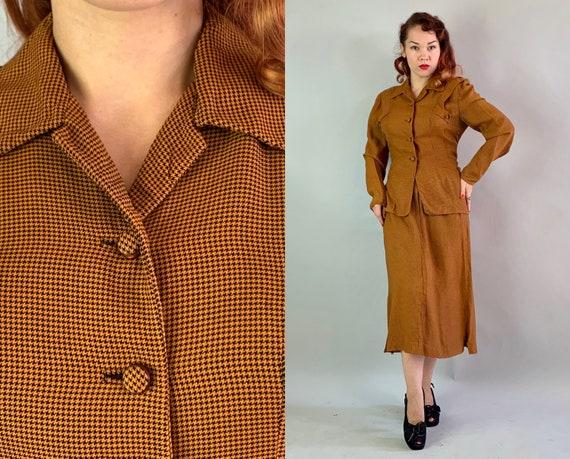 1940s Smart Sally Dress Set | Vintage 40s Wool Ble
