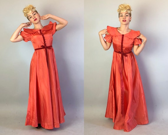 1930s Coral Silk Taffeta Evening Gown | Vintage 3… - image 7