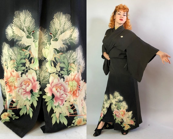 1930s Hand Painted Kimono | Vintage 30s Glamorous Silk Black Japanese Kimono Robe with White Cranes, Pink and Green Floral Foliage Displays