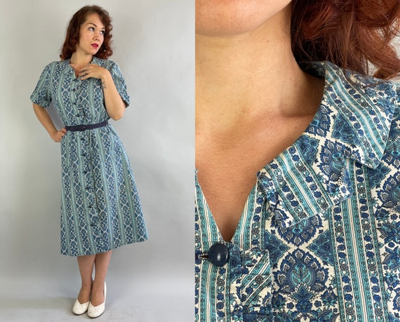 1950s Poised in Paisley Dress | Vintage 50s Blue and White Button Up Shirtwaist Cotton Day Frock with Ruffle Edge | Large Extra Large XL