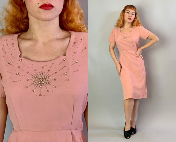 1940s Pretty in Pink Dress | Vintage 40s Silk Faille Cocktail Evening Dress with Starbusrt Rhinestone Pearls And Silver Studs | Small