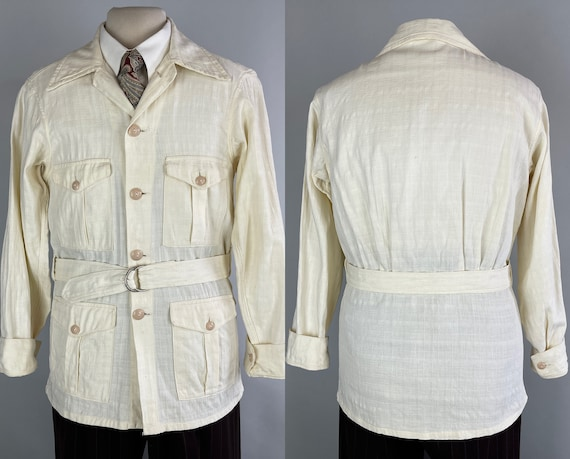 1930s Successful Safari Jacket | Vintage 30s White Linen Windowpane Weave Belted Summer Gatsby Sportcoat with Flap Pockets | Size 36 Small