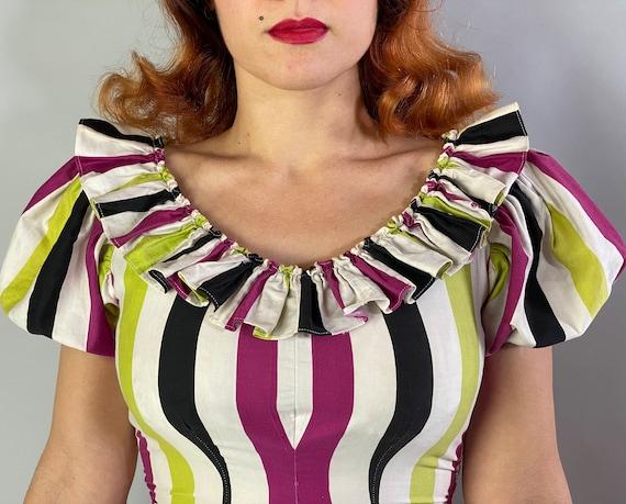 1940s Big Top Ball Gown   Vintage 40s Cotton Dres… - image 4