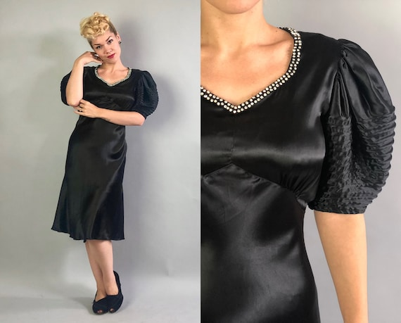 1930s Rhinestone Trimmed Satin Dress | Vintage 30s LBD Black Silk Cocktail Evening Dress w/Sweetheart Neckline & Elaborate Sleeves | Small