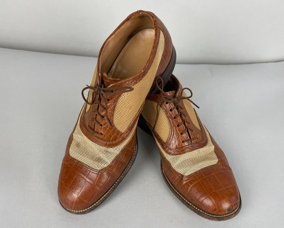1940s Ventilated Advantage Shoes | Vintage 40s Leather Honey Brown Apron Toe Summer Oxfords w/Hazel Wood Tan Mesh by BF Goodrich | Size 8 US