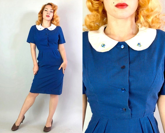 1960s Librarian Chic Dress | Vintage 60s Blue and Black Checkered Gingham Cotton Dress w/White Peter Pan Collar & Embroidered Flowers| Small