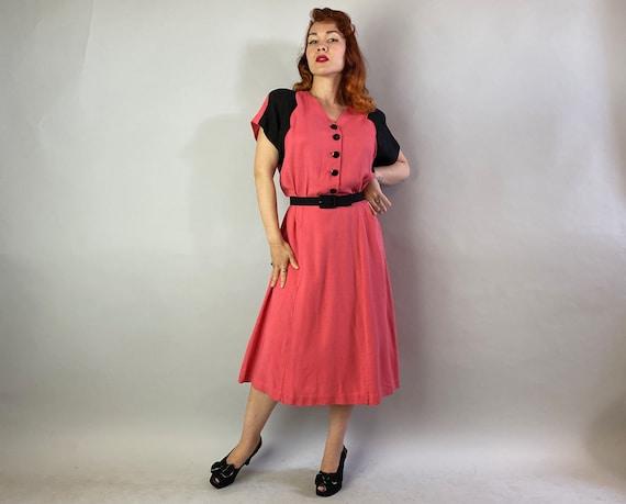 1940s Color Block Cutie Dress | Vintage 40s Coral… - image 5