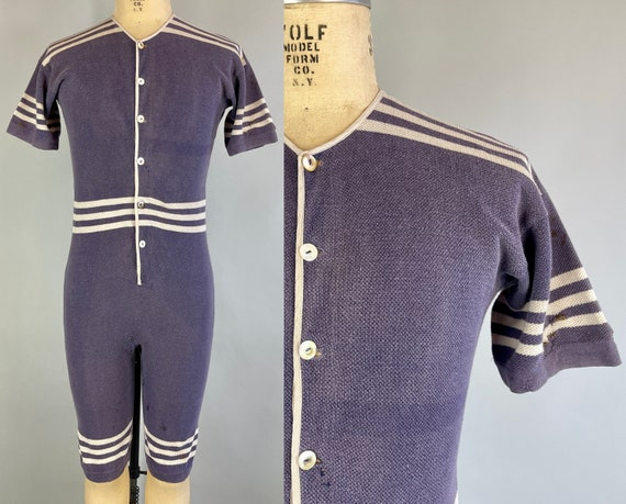 1910s Billy's Bathing Costume | Vintage Antique Teens Aviation Grey and White Striped Wool Bathing Suit Early Swimwear | Medium Large XL