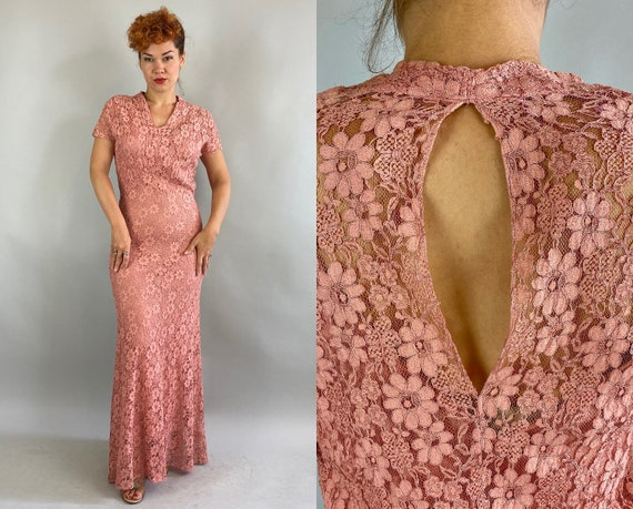 1930s Lovely Languid Lace Gown | Vintage 30s Bubblegum Pink Curve Hugging Bias Cut Evening Dress with Sexy Keyhole Back | Small Medium
