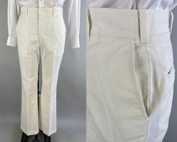 1960s Wonderful White Trousers | Vintage 60s does 30s White Summer Wool Linen w/ Oatmeal Slub Flat Front Slacks Pants | Size 36x30.25 Large